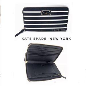 Kate spade french stripe zip around XL wallet